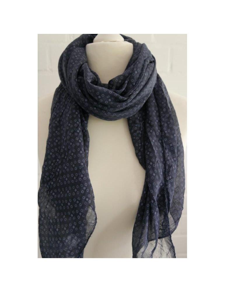Schal Tuch Loop Made in Italy Seide Baumwolle dunkelblau bleu Kreise Rechtecke