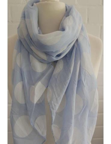 Schal Tuch Loop Made in Italy Seide Baumwolle hellblau weiß Riesen Punkte