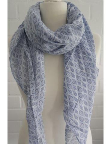 Schal Tuch Loop Made in Italy Seide Baumwolle hellblau blau weiß Blätter