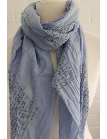 Schal Tuch Loop Made in Italy Seide Baumwolle jeansblau schwarz Schrift