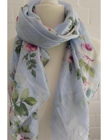 Schal Tuch Loop Made in Italy Seide Baumwolle hellblau grün pink creme Blumen