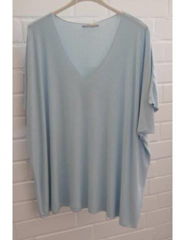 Damen Basic Shirt kurzarm hellblau blau uni mit Viskose Onesize ca. 38 - 46