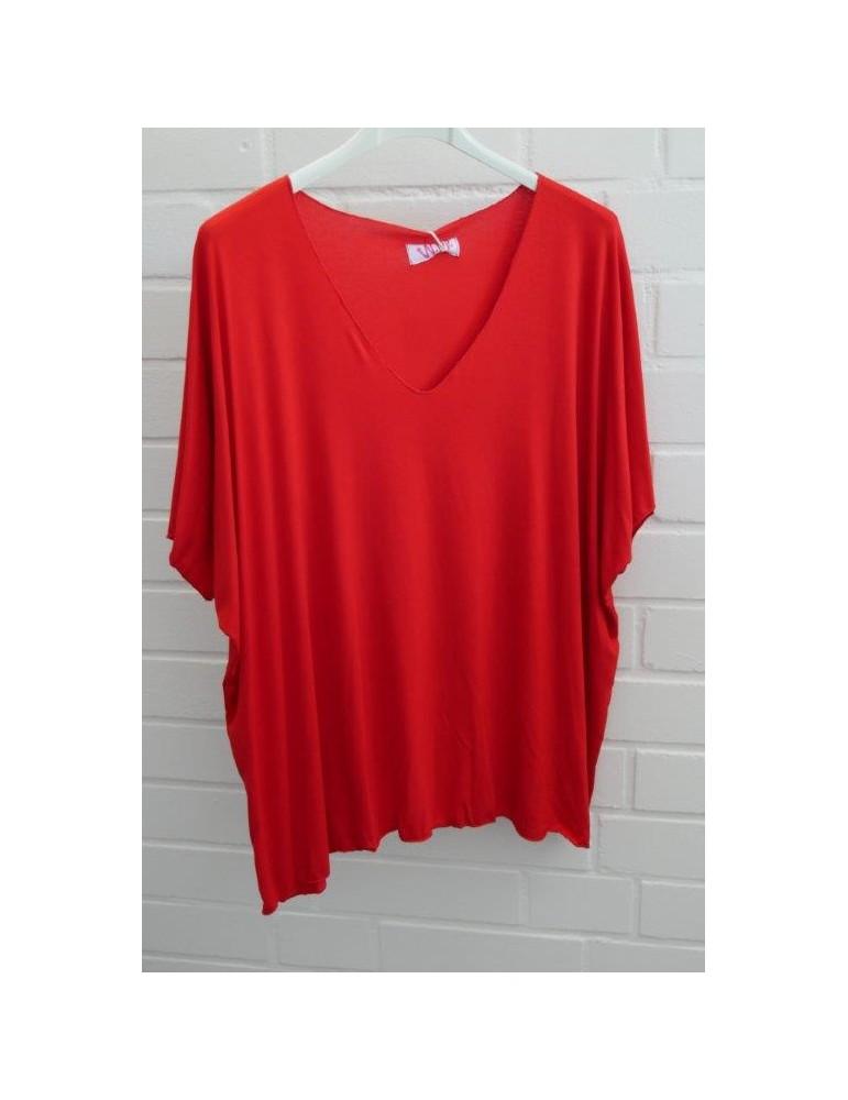 Damen Basic Shirt kurzarm rot red uni mit Viskose Onesize ca. 38 - 46