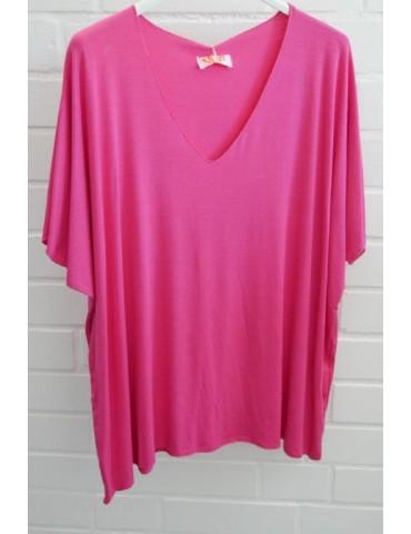 Damen Basic Shirt kurzarm pink uni mit Viskose Onesize ca. 38 - 46