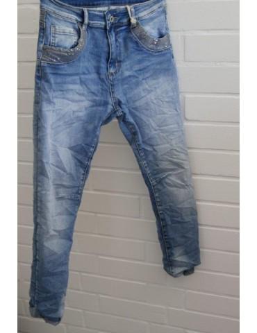 Melly & Co Bequeme Jeans Hose Damenhose blau verwaschen Pailletten