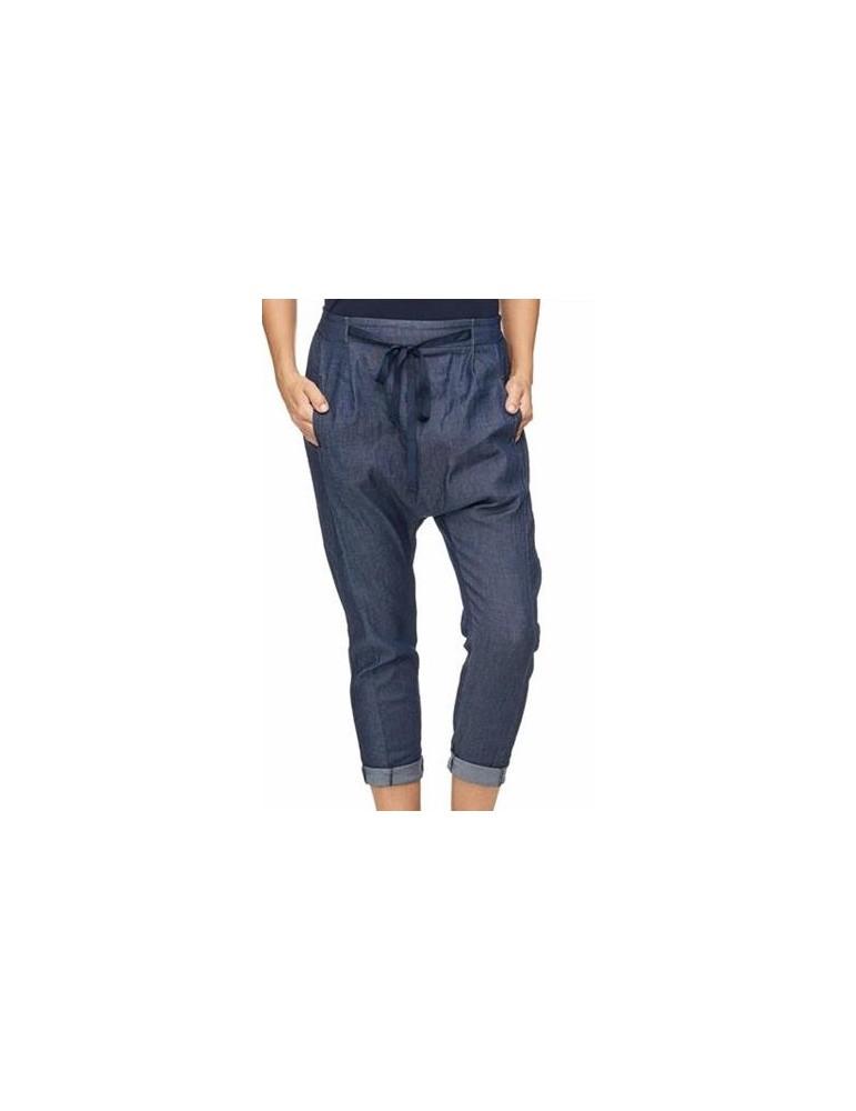 ESViViD Bequeme Sportliche Damen Hose Boyfriend leichter Jeansstoff blau uni 644