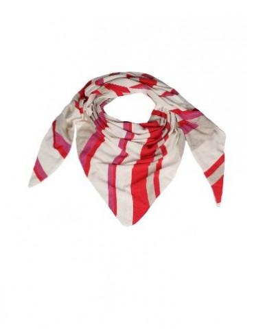 Zwillingsherz Dreieckstuch Schal mit Kaschmir creme rot pink natur Streifen