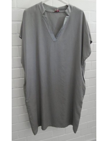 Damen Tunika Kleid hellgrau grau Lyocell Viskose Onesize ca. 38 - 44 Made in Italy