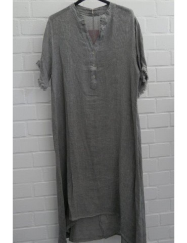 Damen Tunika Kleid Leinen Baumwolle grau Onesize ca. 38 - 44 Made in Italy