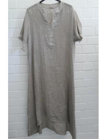 Damen Tunika Kleid Leinen Baumwolle beige Onesize ca. 38 - 44 Made in Italy