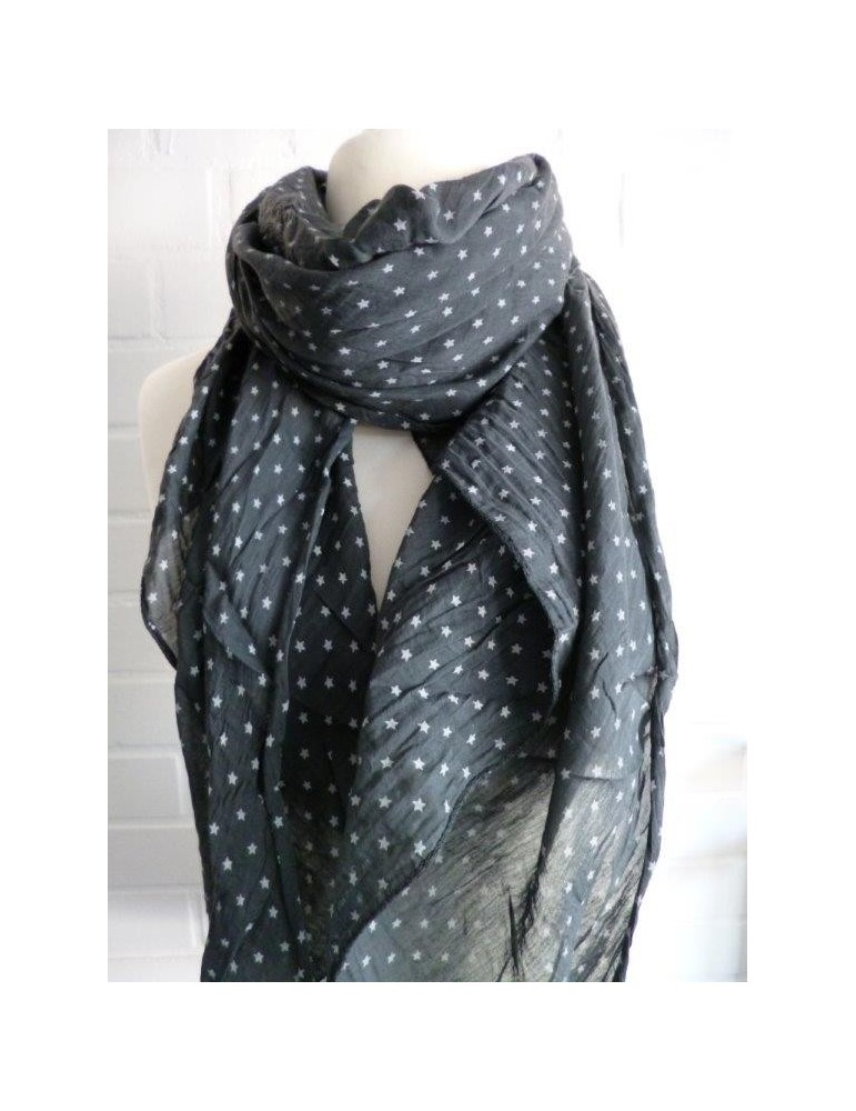 Schal Tuch Loop Made in Italy Seide Baumwolle anthrazit grau weiß Mini Sterne