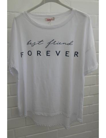 "Damen Oversize Shirt kurzarm weiß dunkelblau ""best friend forever"" Baumwolle 38 - 44"