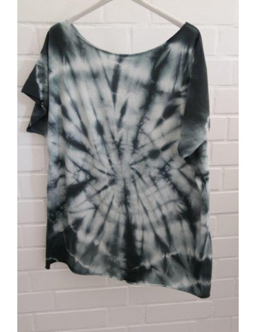 Damen Batik Shirt kurzarm anthrazit creme Baumwolle 38 - 46