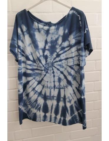 Damen Batik Shirt kurzarm blau creme Baumwolle 38 - 46