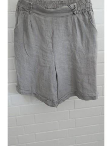 Bequeme Damen Leinen Shorts hellgrau grau gefranst Onesize 38 40