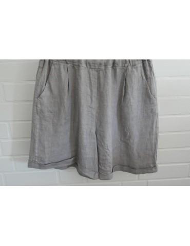 Bequeme Damen Leinen Shorts hellgrau grau Gr. XL 40 42