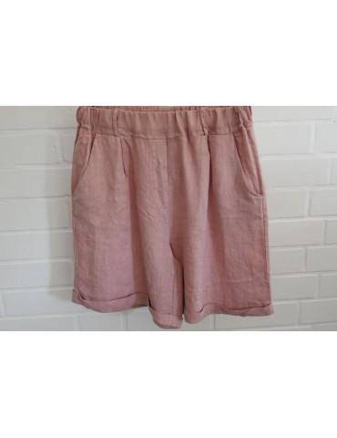 Bequeme Damen Leinen Shorts rose rosa Gr. L 38 40