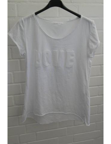 "Damen Shirt kurzarm weiß uni ""LOVE"" Baumwolle 3D Druck"