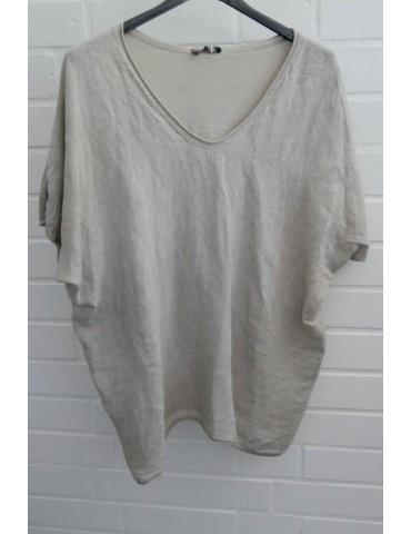 Damen Bluse Shirt kurzarm beige uni Baumwolle Leinen