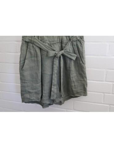 Bequeme Damen Leinen Shorts khaki oliv Onesize 36 40