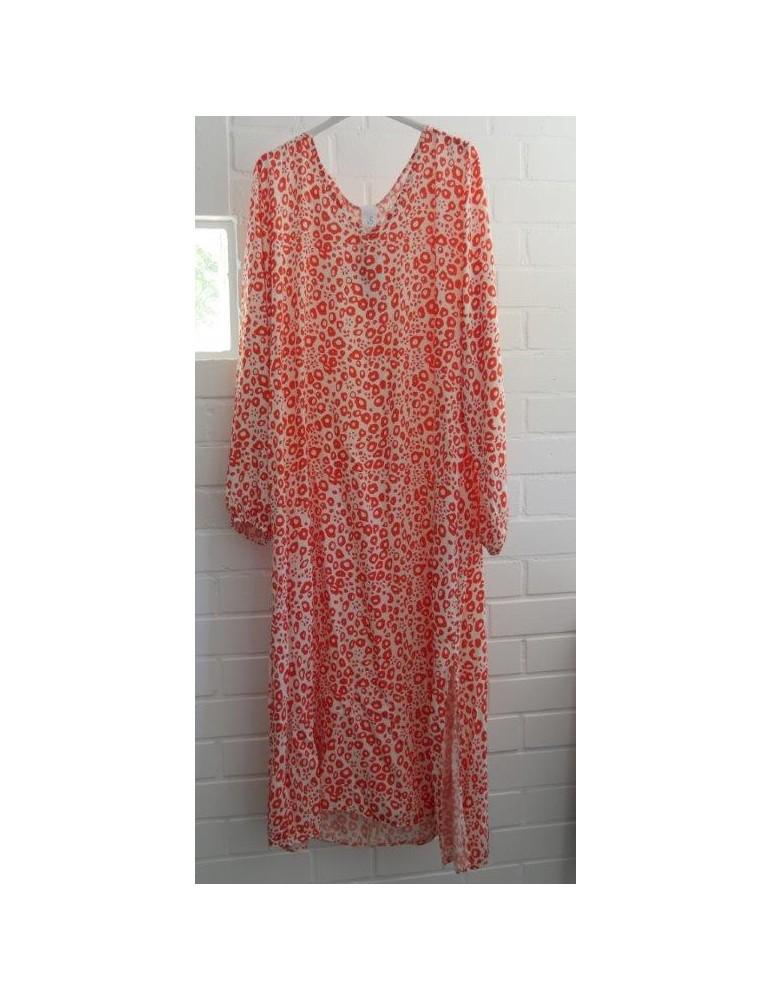 Damen Kleid Vikose Baumwolle weiß orange Onesize ca. 38 - 42 Made in Italy