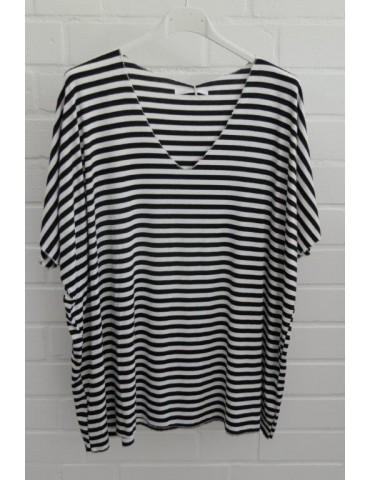 Damen Basic Shirt kurzarm weiß schwarz Streifen mit Viskose Onesize ca. 38 - 46