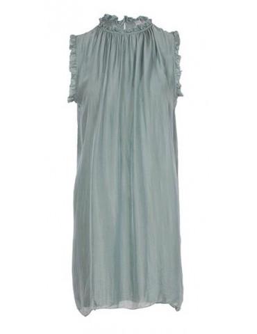 ESViViD Damen Kleid Tunika Seide lindgrün hell oliv Onesize ca. 36 - 42