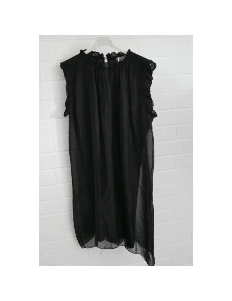 ESViViD Damen Kleid Tunika Seide schwarz black Onesize ca. 36 - 42