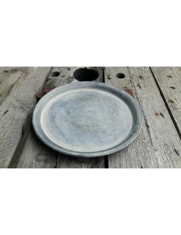 Dekotablett Metall Tablett Teelichter silber Zink rund