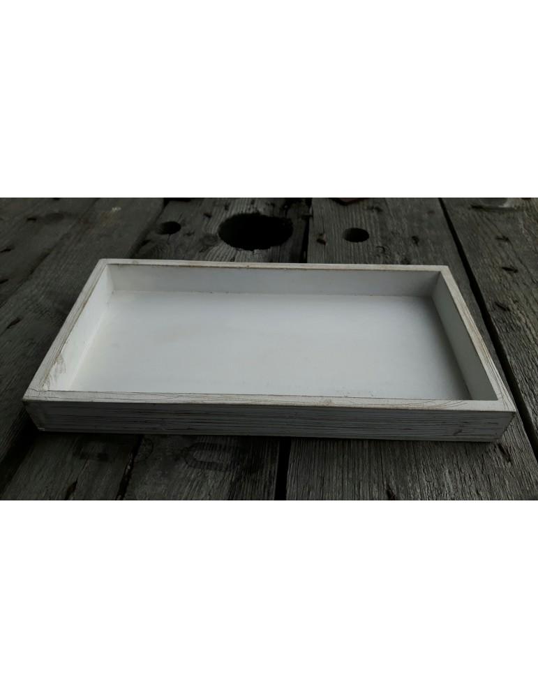 Dekobrett Holzbrett Brett für Teelichter weiß Holz rechteckig 15 x 28 cm