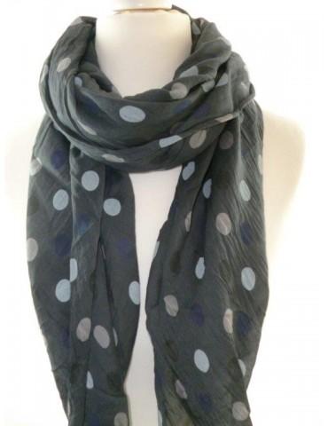 Schal Tuch Loop Made in Italy Seide Baumwolle anthrazit grau rose hellgrau dunkelblau Punkte