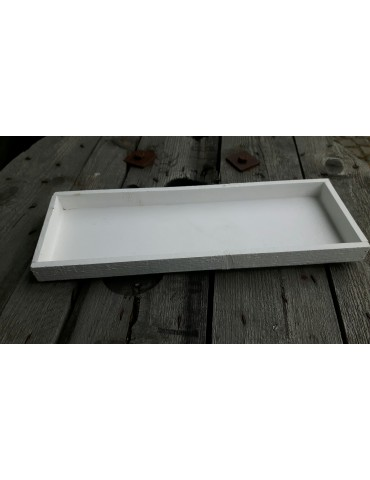 Dekobrett Holzbrett Brett für Teelichter weiß Holz rechteckig 14 x 41 cm