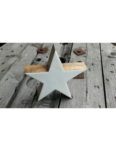 Holz Stern Emaille weiß white Weihnachten Advent