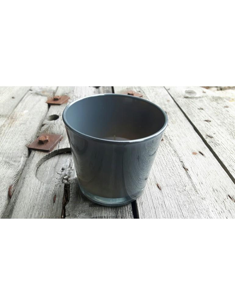 Teelicht Kerze Teelichtglas Blumenvase anthrazit grau