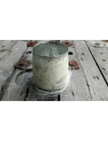 Teelicht Teelichtglas Kerze Glas abgerundet beige braun Vintage Look