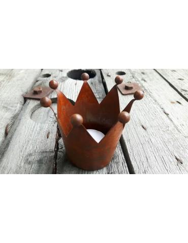 Teelicht Kerze Rostfarbenes Metall Krone Vintage Look klein