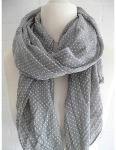 Schal Tuch Loop Made in Italy Seide Baumwolle grau weiß Mini Punkte