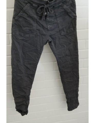 Melly & Co Jeans Hose Jogging Jogg Pants anthrazit grau aufgesetzte Taschen