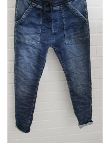 Melly & Co Jeans Hose Jogging Jogg Pants blau verwaschen aufgesetzte Taschen