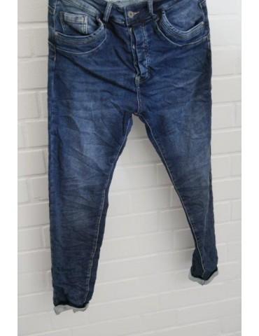 Melly & Co Bequeme Jeans Hose Damenhose dunkelblau verwaschen