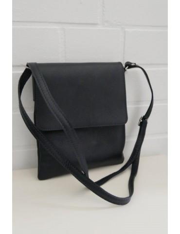 Damen Echt Leder Handtasche Schultertasche dunkelblau uni glatt mit Klappe