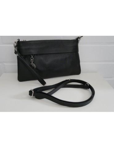 Damen Echt Leder Handtasche Clutch Schultertasche schwarz black uni