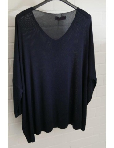 Leichter Strick Pullover Oversize dunkelblau blau Onesize 40 - 48 mit Viskose