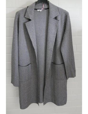 Damen Strick Jacke Mantel schwarz weiß Fischgrät Onesize 38 - 42 mit Viskose