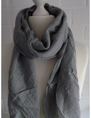 Schal Tuch Loop Made in Italy Seide Baumwolle hellgrau schwarz weiß Krawattenmuster
