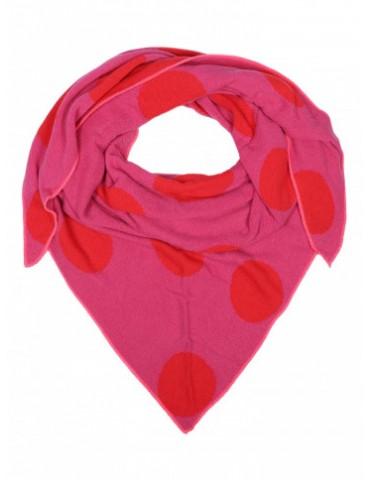 Zwillingsherz Wende Dreieckstuch pink rot feuerrot Riesen Punkte mit Kaschmir