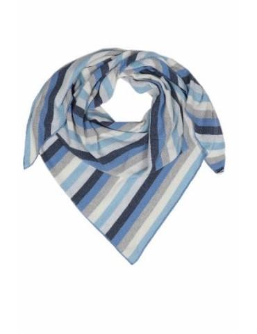 Zwillingsherz Dreieckstuch Schal dunkelblau blau hellgrau creme Streifen mit Kaschmir