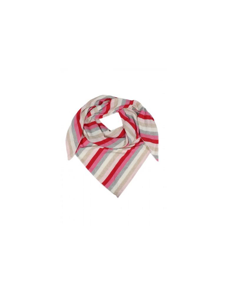 Zwillingsherz Dreieckstuch Schal rot pink rose natur hellgrau creme Streifen mit Kaschmir