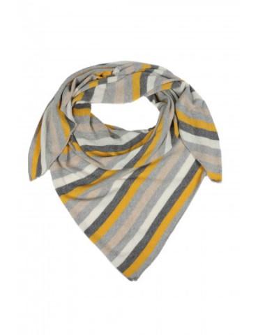 Zwillingsherz Dreieckstuch Schal anthrazit hellgrau senf gelb natur creme Streifen mit Kaschmir