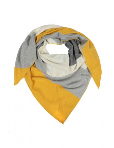 Zwillingsherz Dreieckstuch Schal mit Kaschmir senf  gelb hellgrau creme Streifen Stefanie
